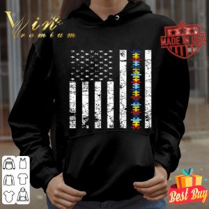 American Flag Puzzle Piece Products Autism Awareness shirt