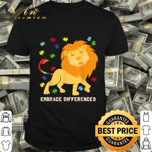 Autism Awareness Cute Lion Puzzle Pieces Rainbow Tail shirt