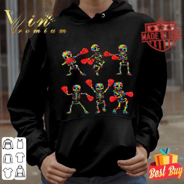 Autism Awareness Funny Dancing Skeletons Boxing Dance Gifts shirt