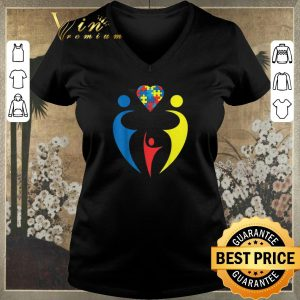 Awesome Autism Awarness Family Trio Heart Puzzle shirt sweater
