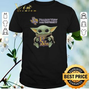 Awesome Baby Yoda Hug Prairie View A&M University Logo Star Wars shirt sweater