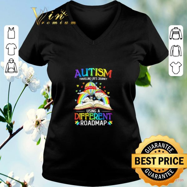 Awesome Book Autism travelling life's journey using a different roadmap shirt sweater