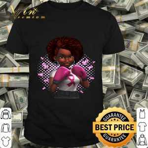Black Woman Boxer Pink Ribbon Breast Cancer Awareness shirt