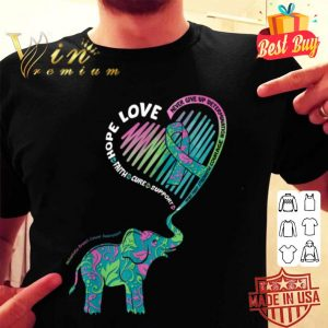 Cute Elephant With Heart Metastatic Breast Cancer Awareness shirt