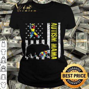 Distressed Bear Autism Mama USA Flag Autism Awareness shirt