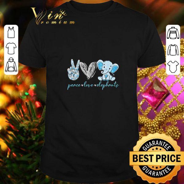Funny Peace love elephants shirt