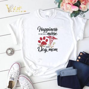 Happiness is being a nurse and dog mom paw flowers shirt sweater