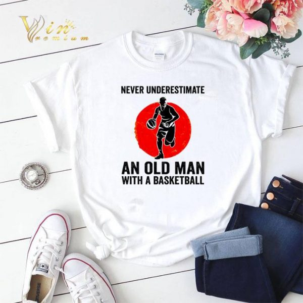 Never underestimate an old man with a basketball sunset shirt sweater