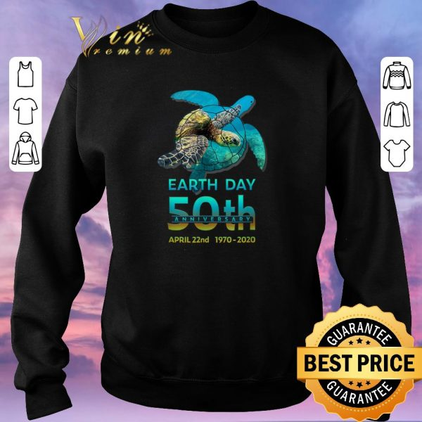Nice Sea Turtle earth day 50th anniversary april 22nd 1970-2020 shirt sweater