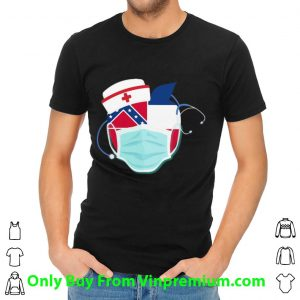 Apple Nurse Stethoscope Mississippi Flag Covid-19 Shirt