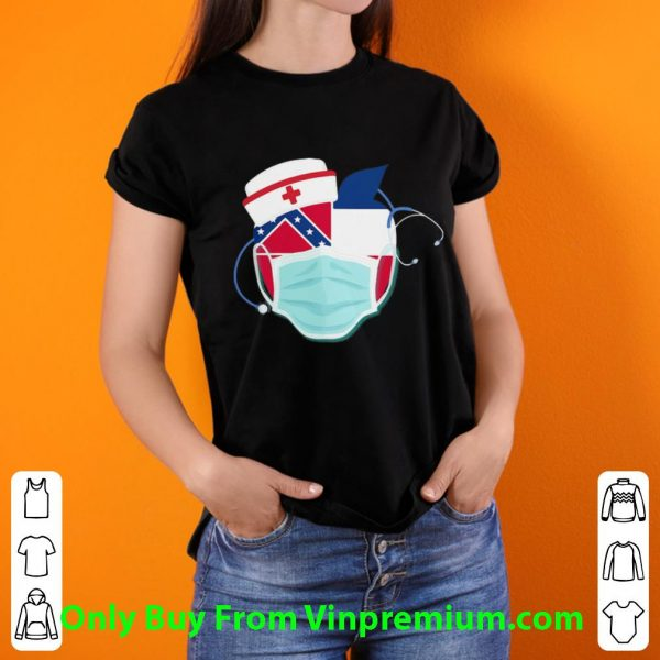 Apple Nurse Stethoscope Mississippi Flag Covid-19 Shirt