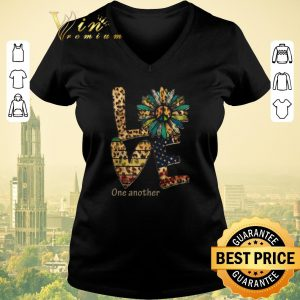 Nice Love One Another Flowers Leopard American Flag shirt sweater