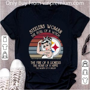 Vintage Steelers Woman The Soul Of A Witch The Heart Of A Hippie Shirt