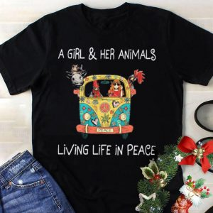 A girl and her animals living life in peace hippie shirt