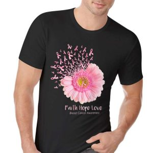 Faith Hope Love Breast Cancer Awareness Flower Pink shirt 1