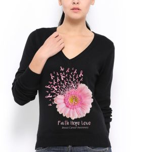 Faith Hope Love Breast Cancer Awareness Flower Pink shirt 2