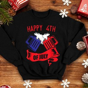4th Of July Beer in the colors of the USA and America American Flag shirt
