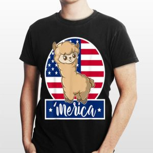 4th Of July Merica Llama & American Flag shirt