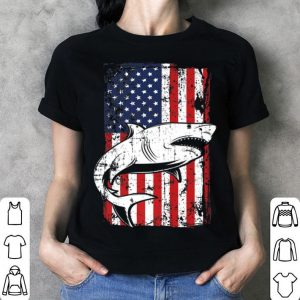 4th of July American Flag Megalodon Shark Dad shirt