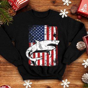4th of July American Flag Megalodon Shark Dad shirt
