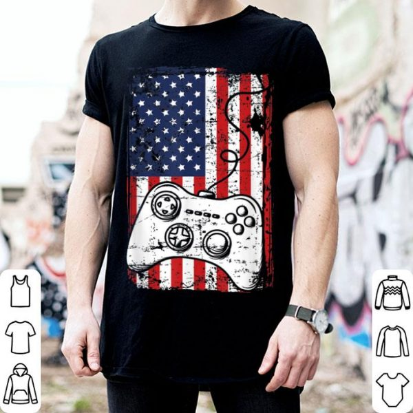 4th of July American Flag Video Game Controller shirt