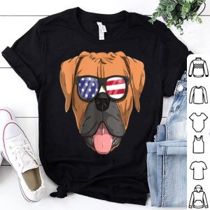 American Boxer Dog Patriotic USA Flag 4th of July shirt