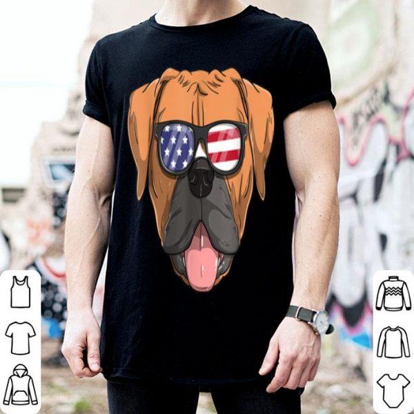 American Boxer Dog Patriotic USA Flag 4th of July shirt