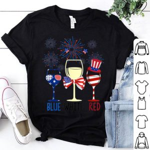 Blue White Red Wine Glasses USA Firework 4th Of July American Flag shirt