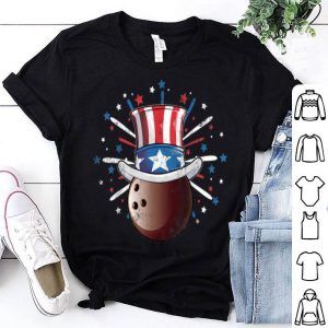 Bowling Ball American flag Hat Patriotic July 4th Sports shirt