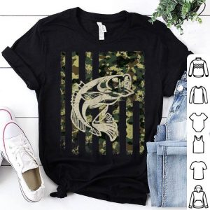 Camouflage American Flag Bass Fishing 4th Of July shirt