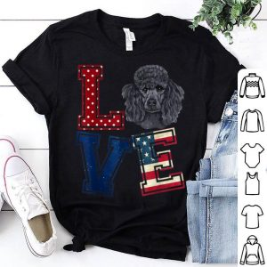 Love Poodle Face American Flag Patriotic 4th Of July shirt