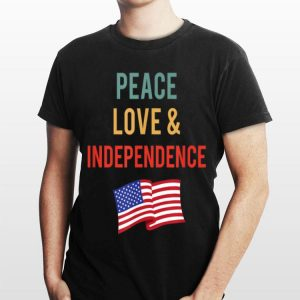 Peace Love & Independence 4th Of July Retro Colors shirt