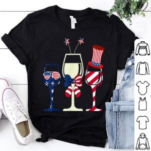 Red White Blue Wine Glasses USA Flag 4th Of July shirt