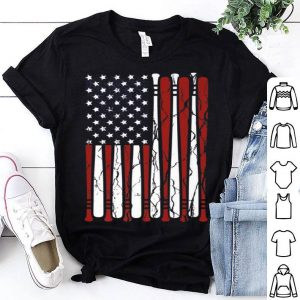 Vintage American Flag Baseball Men Boys Apparel Dad 4th July shirt
