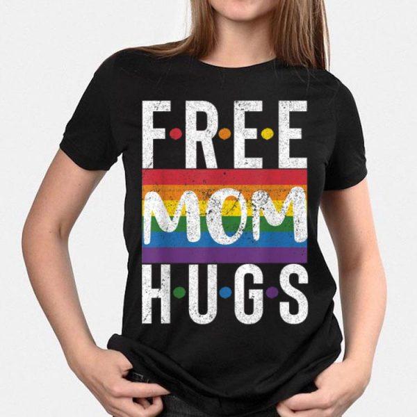 Vintage Free Mom Hugs Rainbow Flag Pride Month shirt