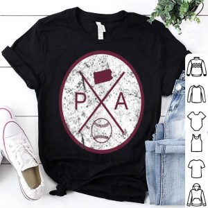 Vintage Philadelphia Baseball PA State Map Outline shirt