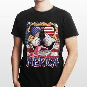 American Flag English Bulldog 4Th Of July Merica Sunglasses shirt