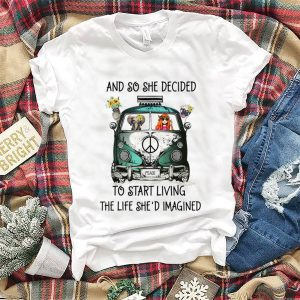 And So She Decided To Start Living The Life She Imagined Peace Hippie Bus Girl And Elephant hoodie