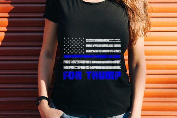 Blue Line USA Flag For Trump hoodie