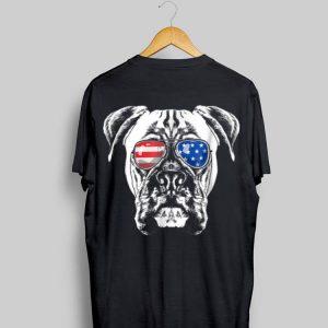 Boxer Dog American Flag Glasses 4th of July shirt