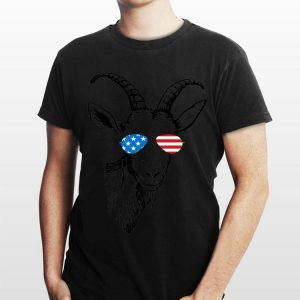Goat Patriotic Usa Flag Aviator Glasses Design shirt