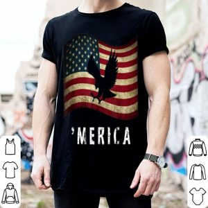 Merica 4Th Of July Distressed American Eagle Usa Flag shirt