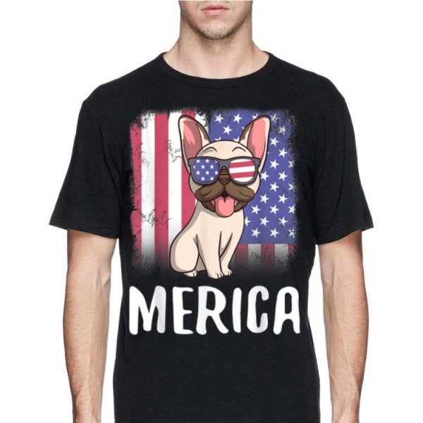 Merica French Bulldog Dog Frenchie American Flag 4th of July shirt
