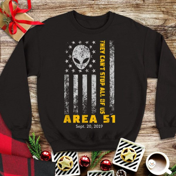 Nice Trend Storm Area 51 They Can't Stop All Of Us Alien Face American Flag shirt