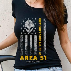 Nice Trend Storm Area 51 They Can't Stop All Of Us Alien Face American Flag shirt 2