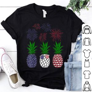 Red White BLue Pineapple USA Flag Firework 4th Of July shirt