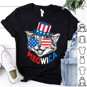 Red White Blue Cat 4Th Of July Meowica American Flag shirt
