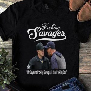 Awesome Trend Fucking Savages My Guys Are Savages In That Box New York Yankees Aaron Boone shirt