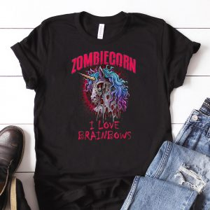 Awesome Zombie Unicorn I Love Brainbows Halloween shirt