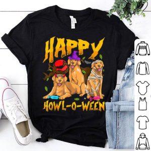 Beautiful Halloween Golden Retriever Mom Dad Happy Howl-o-ween Goldies shirt